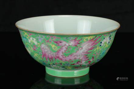 A Chinese Green-Ground Famille-Rose Porcelain Bowl