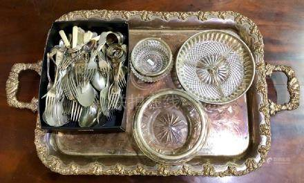 Large plated on copper rectangular tray etc.