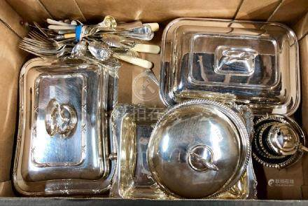 Electroplated ware, silver  and other flatware and