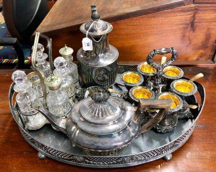 Sheraton revival oval gallieried tray etc.