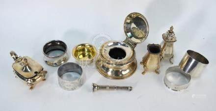 Silver cigar-piercer, napkin rings etc.
