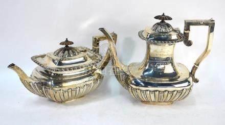 Edwardian silver teapot and coffee pot, Elkington & Co.