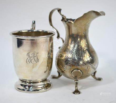 Victorian silver pear-shaped cream jug and a