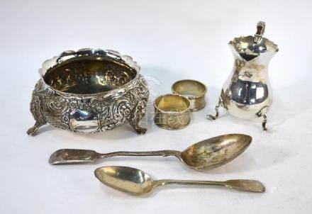 Victorian silver bowl, silver cream jug etc.