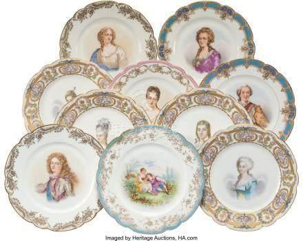 56007: Ten Sevres-Style Porcelain Portrait Plates, earl