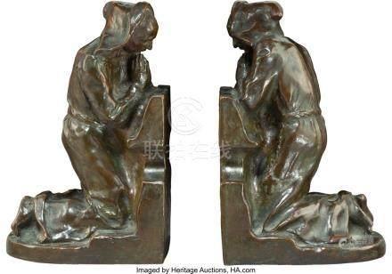 56023: A Pair of Louis McClellan Potter Bronze Praying