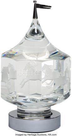 56036: Steuben Silver and Glass Carousel Desk Ornament