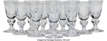 56037: Twelve Steuben 7877 Pattern Cordial Glasses, Cor