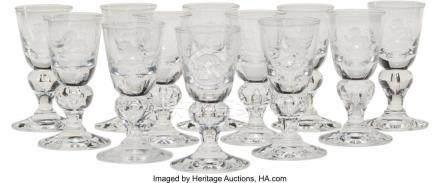 56039: Twelve Steuben 7877 Pattern Cordial Glasses, Cor