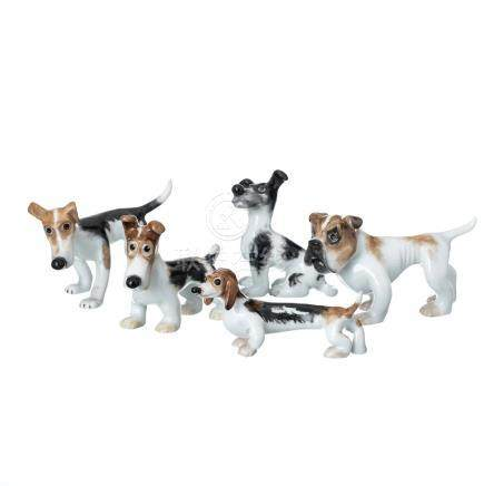 Set of five dogs in Vista Alegre porcelain