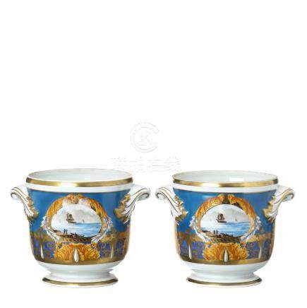 Pair of Vista Alegre porcelain cachepots