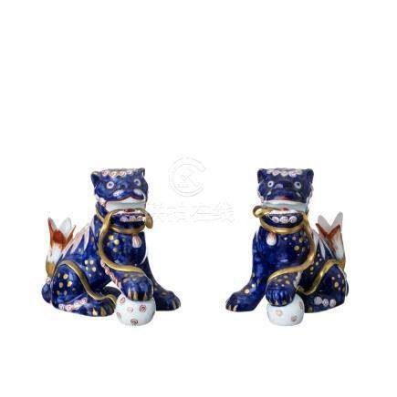 Pair of Foo Dogs in Vista Alegre porcelain