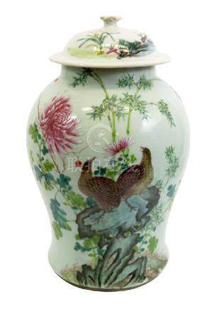 A large Chinese famille rose baluster temple jar and