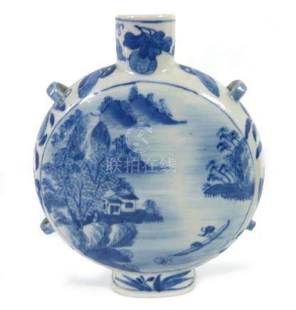 A Chinese blue and white moonflask, Kangxi mark, four
