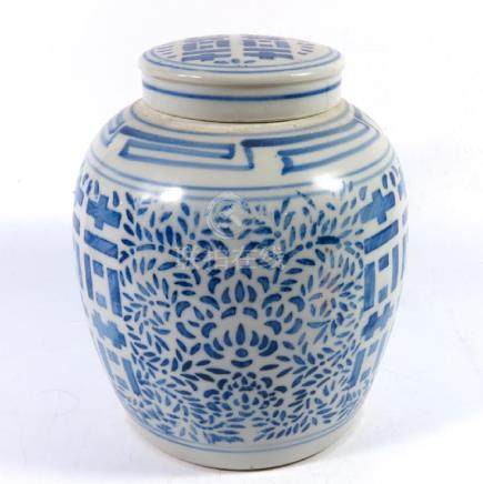 A Chinese blue and white ginger jar, stencilled foliate