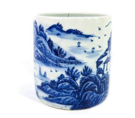 A Chinese blue and white brush pot, Guangxu mark and of