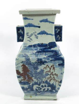 A Chinese blue and white vase, square section baluster