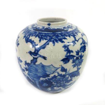 A Chinese blue and white ginger jar, probably Qianlong
