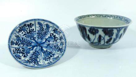 A Chinese blue and white bowl, late Ming, together with