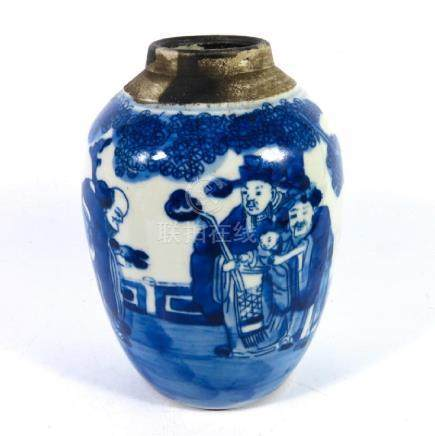 A Chinese blue and white ginger jar, ovoid form,