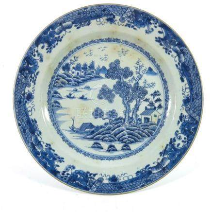 A Chinese export blue and white plate, 18th century,