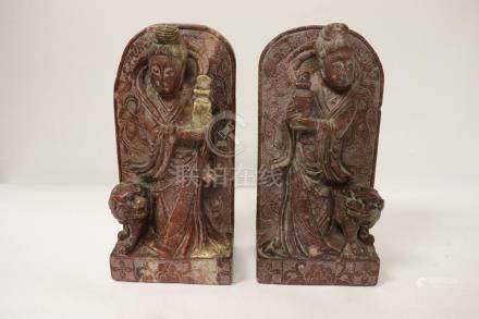 Pair Chinese shoushan stone carving as bookends