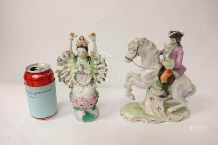 European porcelain, and a wucai porcelain figure