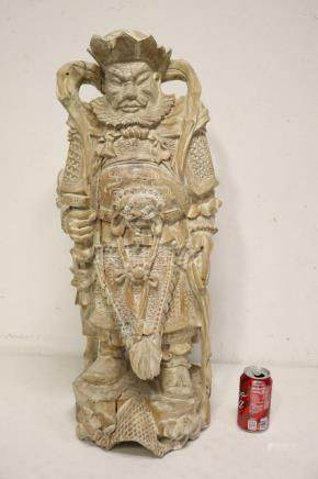 Chinese large wood carved warrior
