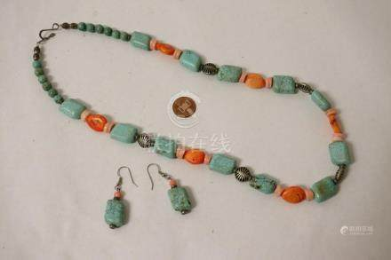 Turquoise like bead necklace w/ pr matching earrings