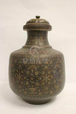Large India bronze covered jar