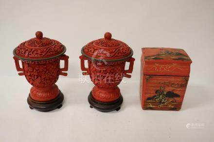 2 Chinese cinnabar covered cups & a lacquer card box