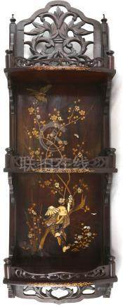 A pair of Japanese Export shelves; each one decorated with a kacho-ga of sparrows and flowers