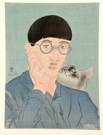 A Japanese picture of Fujita Tsuguhara (1886-1968) with a cat, 40 x 29 cm; together with eight other