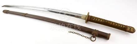 A Shin-Shinto katana in Shingunto koshirae with typical metal saya/shibabiki/ishizuke/obi-tori,