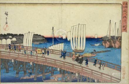 Utagawa Hiroshige (1797-1858), oban yoko-e, Eitai-Bashi Fukagawa Shinchi (Eitai Bridge and New
