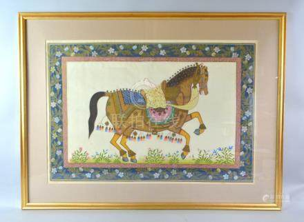 20th century Indian painting on silk of a trotting saddled horse within a floral border, 52cm x 76cm