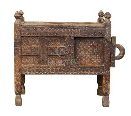 A Indian Dowry, wood Chest with chained, sliding door, decorated with circular and other abstract
