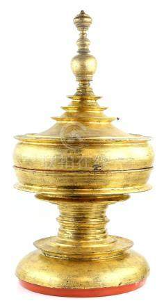 Burmese gilt and red lacquered offering pot and cover.