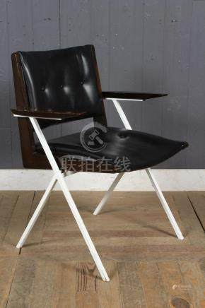 MCM White Metal Teak Arm Armchair