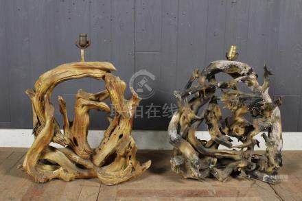 Pair Large Scale Driftwood Lamps