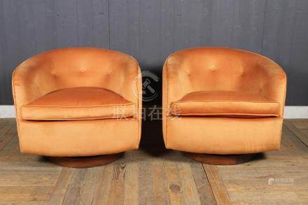 Pair Vintage MCM Swivel Barrel Back Chairs