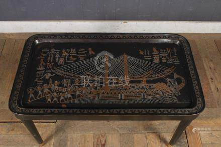 Egyptian Motif Inlaid Tray Table