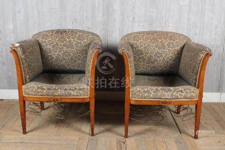 Pair Deco Style Inlay Upholstered Armchairs