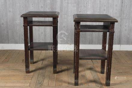 Pair Grain Painted Fireproof Steel Side Tables