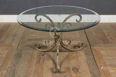 Rope Twist Wrought Iron Glass Top Cocktail Table