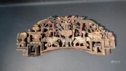 Elément en bois de Ningbo. Chine. fin XIXème siècle. 55x24cm