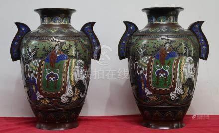 Paire de vases en cloisonné à décor d'éléphant (h.36cm)