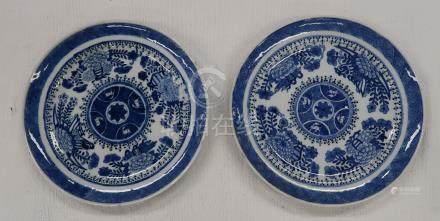 Paire de plats en porcelaine blanc / bleu. Diamètres 22cm