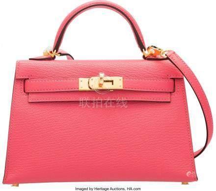 16001: Hermès 20cm Rose Lipstick Chevre Leather