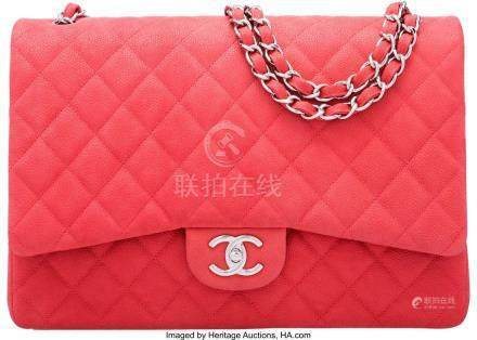 16004: Chanel Pink Quilted Caviar Leather Maxi Double F